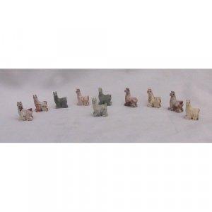 10 Piece Hand Carved Soapstone Miniature Llama Figurine