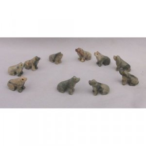 10 Piece Hand Carved Soapstone Dog Figurine