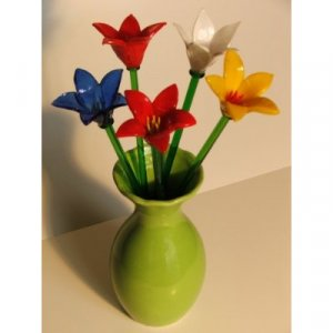 Mixed Colors Glass Flowers 10 Piece Set