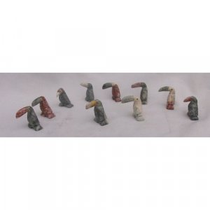 10 Piece Hand Carved Soapstone Miniature Toucan Figurine