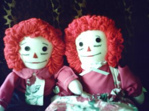 Raggedy Ann and Andy Dolls Set OOAK Handmade Cloth Doll Hand embroidered faces