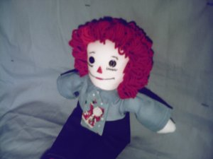 Handmade Raggedy Andy Doll with Santa Tie One of a Kind Cloth Dolls