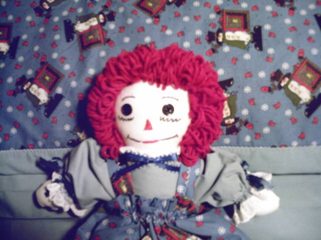 Christmas Raggedy Ann Doll with Matching Quilt OOAK Handmade Penguins