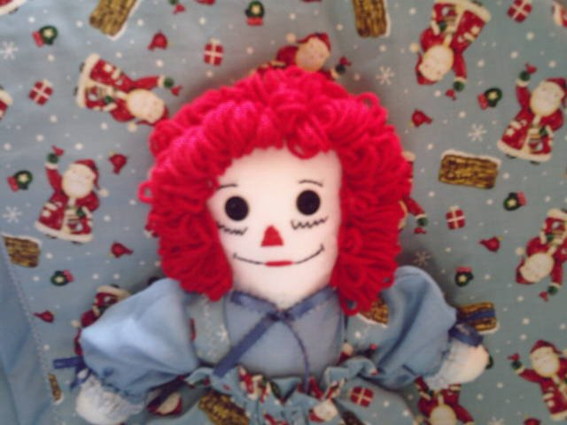OOAK One of a Kind New Handmade Christmas Raggedy Ann Doll with Matching Quilt Santa