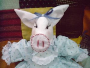Handmade Pig Doll OOAK One of a Kind Cloth Animal Hand crafted Dolls