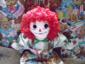 Handmade One of a Kind Cloth Raggedy Ann Doll with Matching Quilt OOAK Hand embroidered face! Bears!