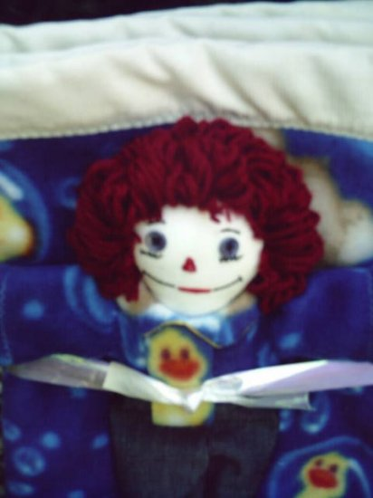 Duck Print Raggedy Andy Handmade One of a Kind Cloth Doll and Matching Fleece Quilt! Ducks!