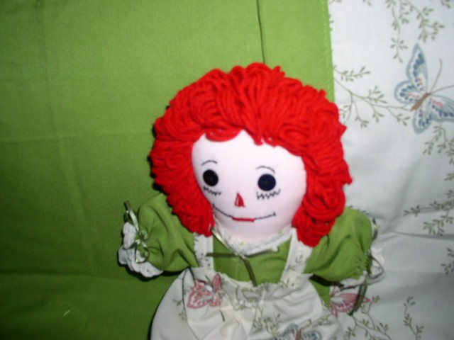Handmade Raggedy Ann Doll with matched quilt One of a Kind Cloth Dolls Butterfly Butterflies