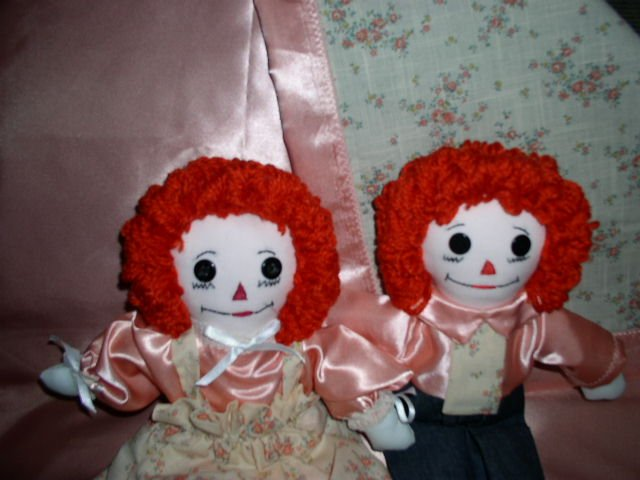 Handmade Raggedy Ann and Andy Dolls One of a Kind Cloth Doll OOAK Peach Floral!