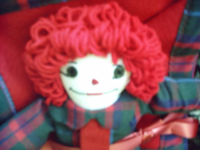 Little Raggedy Andy with Match Quilt Handmade One of a Kind Dolls Plaid