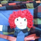 Handmade One of a Kind Cloth Raggedy Andy Doll with matching quilt Flannel and Fleece!