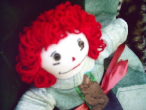 Handmade Raggedy Andy Doll with matched flannel quilt One of a Kind Hand made Cloth Doll OOAK