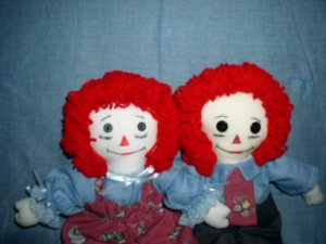 Sewing Themed Raggedy Ann and Andy Dolls with matched Quilt Handmade One of a Kind Cloth Doll OOAK