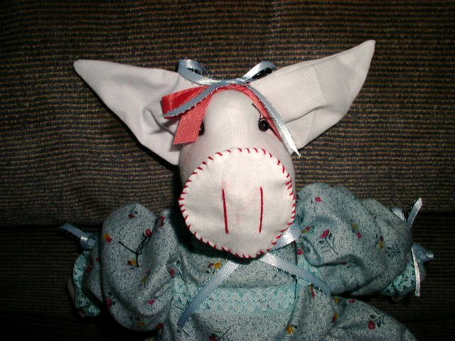 Handmade One of a Kind Cloth Animal Pig Doll Hand embroidered face! Hand crafted dolls