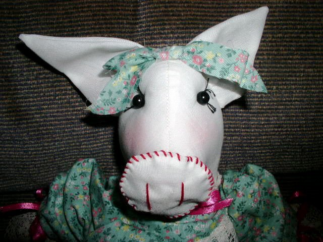 Handmade One of a Kind Cloth Animal Pig Doll Hand crafted Dolls Hand embroidered face!