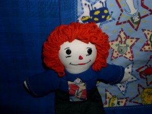 Handmade Cloth Raggedy Andy with Matching Flannel Quilt One of a Kind OOAK Dolls Quilts