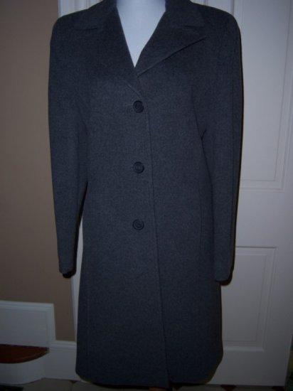 LARRY LEVINE Cashmere 3/4 Length Gray Walker Coat