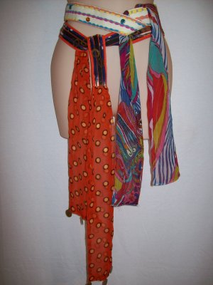 2 Sash Tie Waist Scarf Art Deco Design Dotted Coin Painted Belts by MUDD M, L