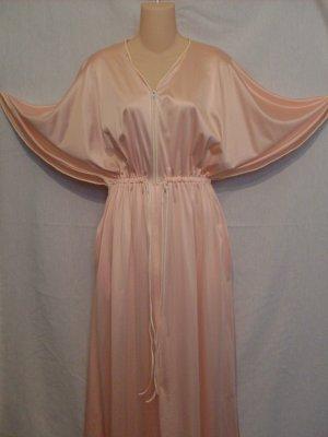 Vanity Fair Antron Nylon Peach & Creme Zippered Lounge Gown Caped Dolman Sleeves M