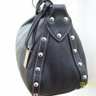 Maxx New York Black Pebble Grain Leather Silver Stud Large Hobo Style Shoulder Bag Purse