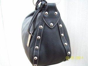Maxx New York Black Pebble Grain Leather Silver Stud Large Hobo Style Shoulder Bag Purse