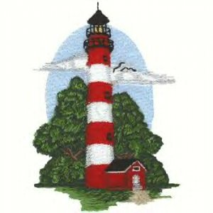 Southern Atlantic Coast Lighthouse #4 Machine Embroidered On White Hand Towel
