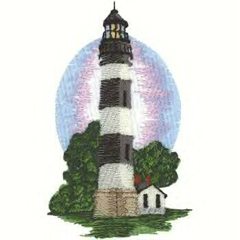 Southern Atlantic Lighthouse #1 Machine Embroidered On White Hand Towel