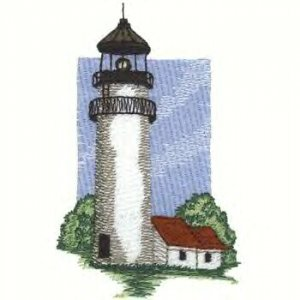 Cape Cod Lighhouse #1 Machine Embroidered On White Hand Towel