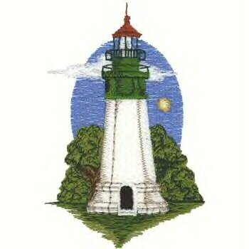Pacific Coast Lighhouse #5 Machine Embroidered On White Hand Towel