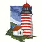 Cape Cod Lighthouse #5 Machine Embroidered On White Hand Towel