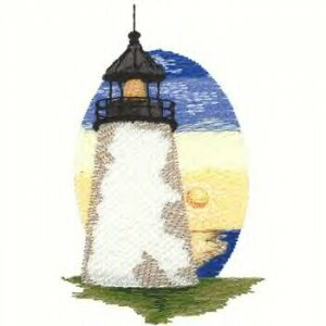 Cape Cod Lighhouse #3 Machine Embroiderd On White Hand Towel