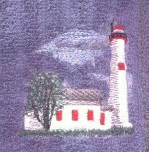 Sturgeon Point Lighhouse Machine Embroidered On White Hand Towel