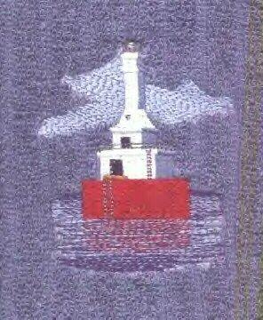 Keweenaw Waterway Lighthouse Machine Embroidered On White Hand Towel