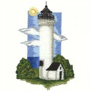 Great Lakes Lighthouse #2 Machine Embroidered On White Hand Towel