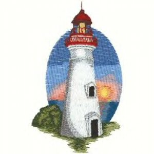 Great Lakes Lighthouse #3 Machine Embroidered On White Hand Towel