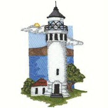 Pacific Coast Lighthouse #4 Machine Embroidered On White Hand Towel