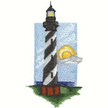 Southern Atlantic Lighthouse #2 Machine Embroidered On White Hand Towel
