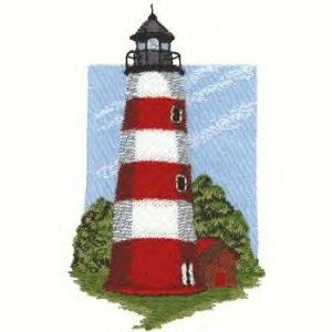 Southern Atlantic Lighthouse #3 Machine Embroidered On White Hand Towel