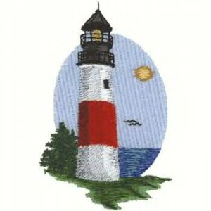 Cape Cod Lighthouse #2 Machine Embroidered On White Hand Towel