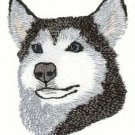 Siberian Husky Machine Embroidered On Hand Towel