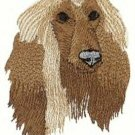 Afghan Hound Dog Head Machine Embroidered On Hand Towel