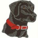 Black Lab Head Machine Embroidered On Hand Towel