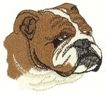 Bulldog Head Machine Embroidered On Hand Towel