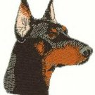Small Doberman Head Machine Embroidered on Hand Towel
