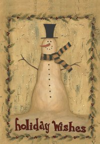 Primitive Christmas Snowman Holiday Large Flag