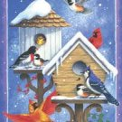 Birdhouses Birds Snow Christmas Winter Garden Mini Flag