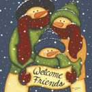 Snowman Welcome Friends Winter Christmas Garden Mini Flag