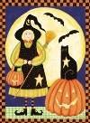 Halloween Witch Pumpkin Large Flag