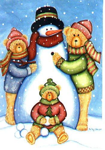 Snowman Bears Winter Christmas Winter Garden Mini Flag