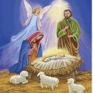 Holy Nativity Family Christmas Large Flag